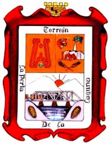 Escudo de Torreón. Significado: Una torre símbolo de la ciudad, el río nazas y el FFCC, su producción de algodón, trigo, vid, ganadería e Industria