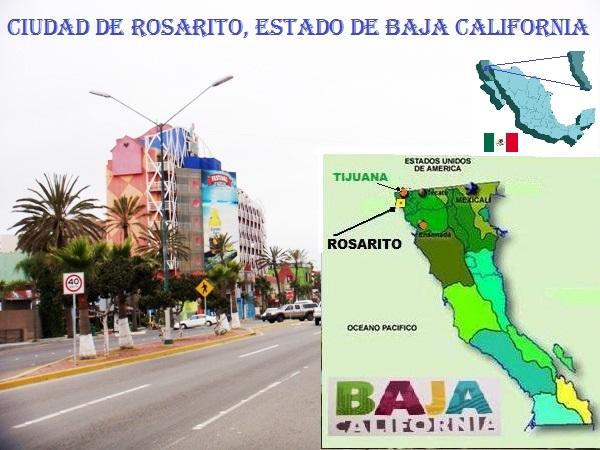 Ciudad de Rosarito, Estado de Baja California, mapa y ubicación