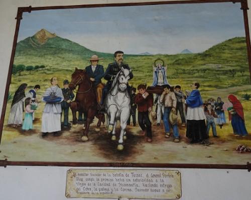 Mural de Porfirio Diaz en Tecoac, al fondo Cerro La Malinche. Hacienda Tecoac, Huamantla Tlaxcala