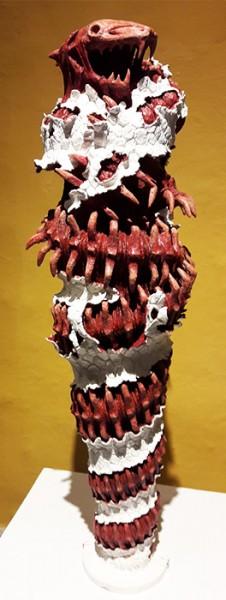 La Serpie de mi subconsciente. Escultura en cerámica de Luis Alberto Martínez. Exposición Signa Mortis. Palacio del Arzobispado. Cd. de Méx. nov 2016