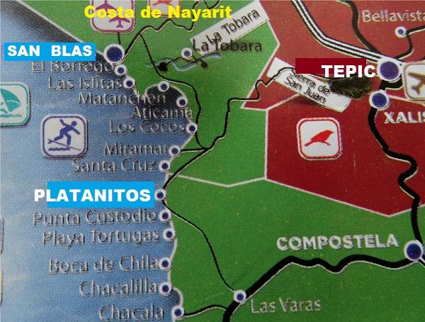 Playa Platanitos, Nayarit, mapa de ubicación,