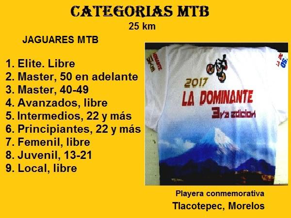 Categorias MTB, Grupo Jaguares Tlacotepec 2017, La Dominante