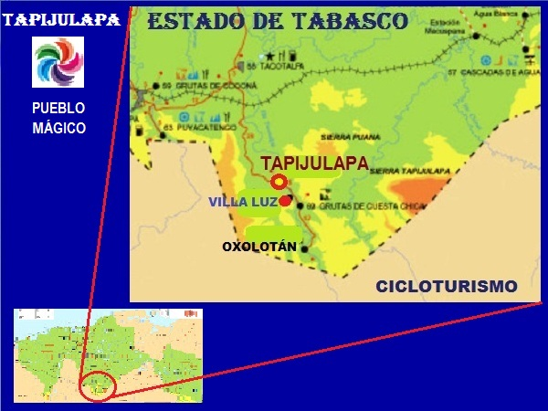 Ruta cicloturista Tapijulapa -Cascadas Villa Luz, Estado de Tabasco, 2017
