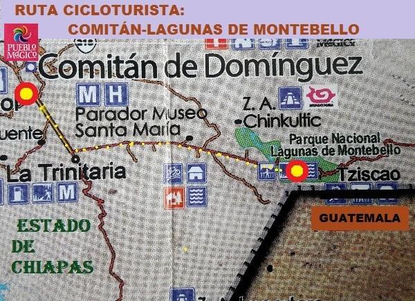 Ruta cicloturista  Comitán-Lagunas de Montebello, Estado de Chiapas