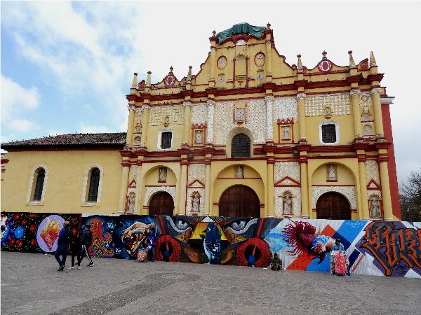 Catedral de San Cristóbal Mártir, del siglo XVII, estilo barroco, en reparación por los sismos de sep17, Chiapas