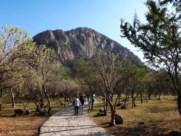 Sendero empedrado rumbo al Cerro Chalcatzingo y su centro Ceremonial. Senderismo México