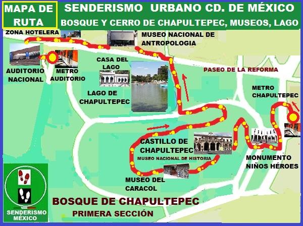 Senderismo urbano, mapa de ruta Chapultepec 1a- sección con sus museos, lago y zona Hotelera de Reforma