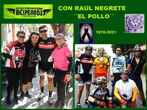 Raúl Negrete ciclista (1970-2021), con amigos y amigas del grupo Biciperros CDMX