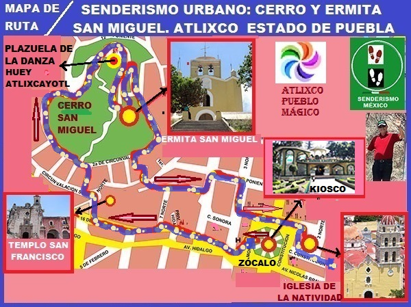Mapa de ruta de senderismo urbano Atlixco-Cerro de San Miguel, Estado de Puebla, México