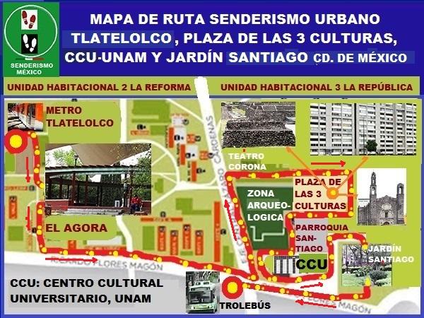 Mapa de ruta de senderismo urbano por Plaza de las Tres Culturas y Jardín Santiago Nonoalco-Tlatelolco, Alcaldía Cuauhtémoc, Ciudad de México