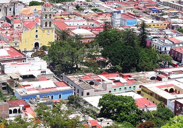 Panorámica del centro de Atlixco, Pueblo Mágico, Estado de Puebla, México
