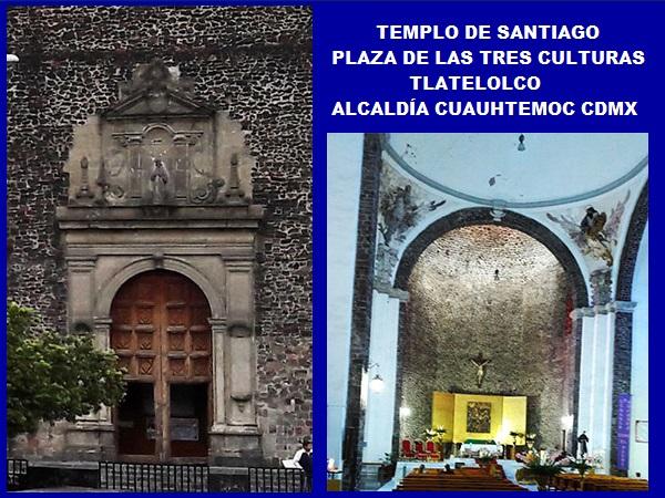Puerta e interior del Templo Santiago Apóstol, Plaza de las Tres Culturas, Tlatelolco, Alcaldía Cuauht+emoc, Ciudad de México, senderismo urbano