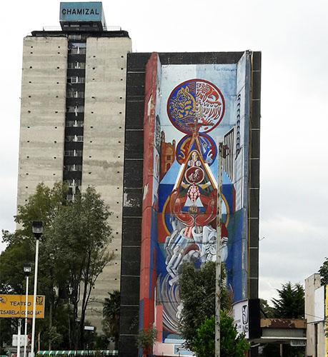 Mural en el edificio General Anaya de Tlatelolco ''Raiz y Expresión de México '' 1977 del muralista y artista plástico Nicandro Puente Eguía. El cual fué borrado en 2019. Alcaldía Cuautémoc, Cd. de México