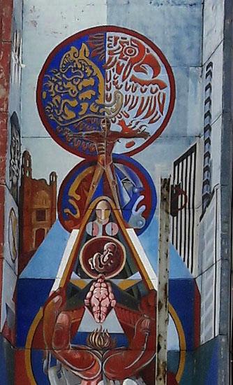 Segmento superior del Mural de Nicandro Puente Eguía, fundador de ls Red Urbana Muralismo Comunitario